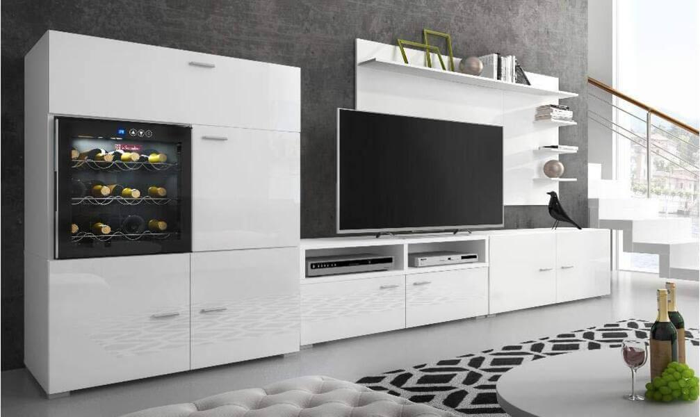 mueble de salon moderno blanco vinoteca