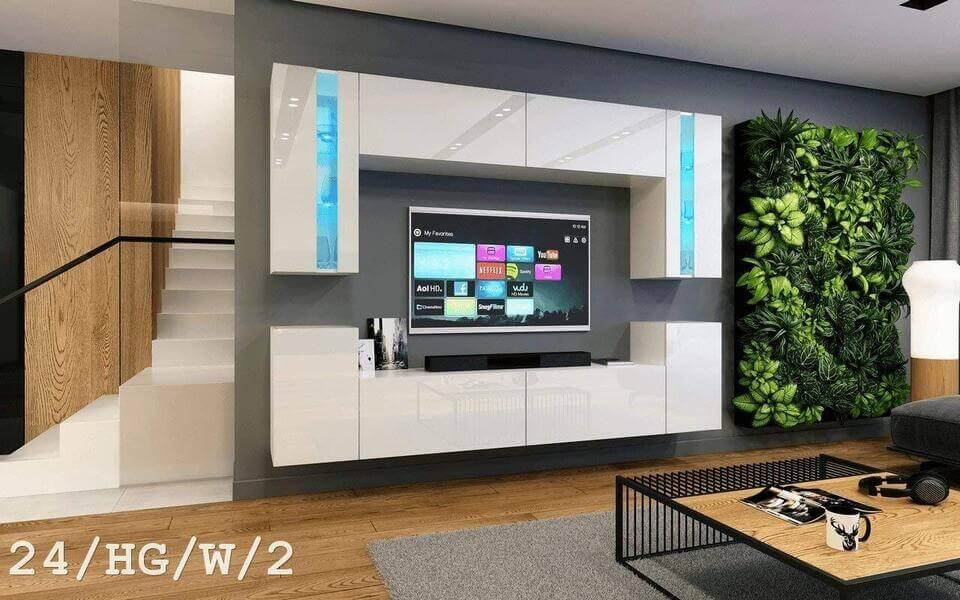 mueble salon moderno blanco lacado concept24