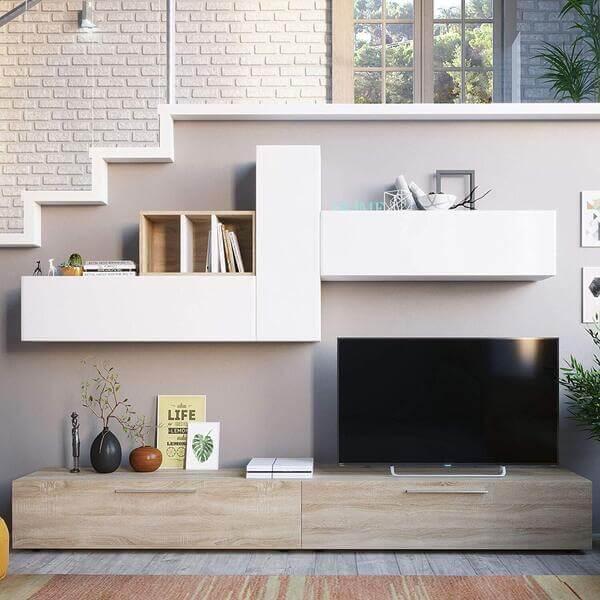 Mueble salón moderno de madera Habitdesign
