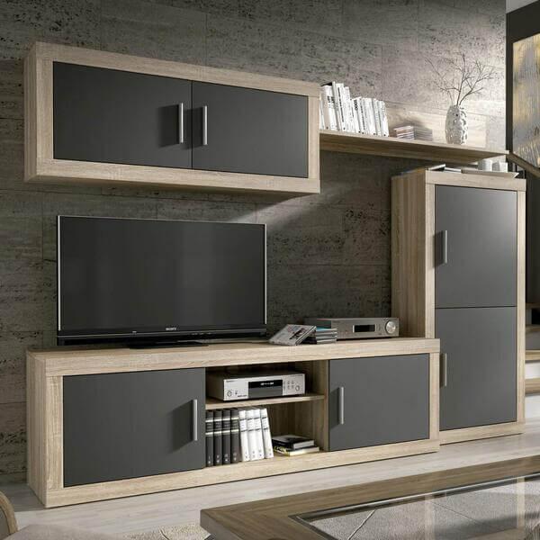 Mueble de salón moderno de madera Homesouth Cambria y grafito