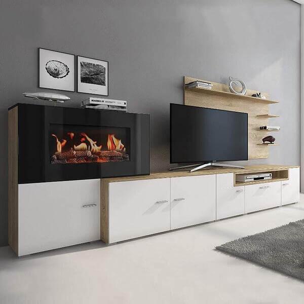 Mueble salón moderno de madera chimenea eléctrica