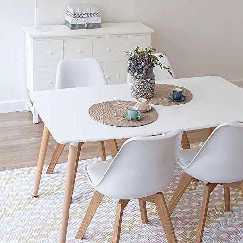 mesa de comedor fija kiel lacada blanco
