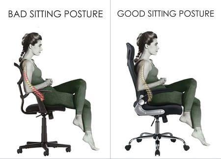 sentarse correctamente en silla ergonomica de oficina