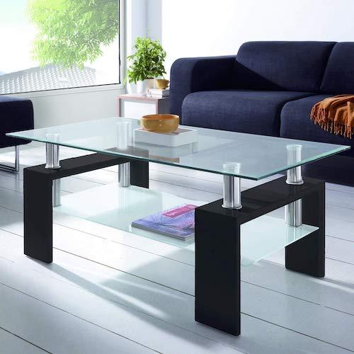 Mesa de centro fija moderna de cristal DueHome