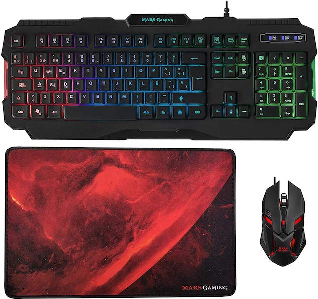 pack teclado, raton y alfombrilla gaming