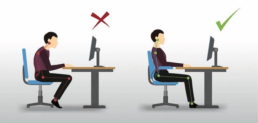 postura correcta silla ergonomica