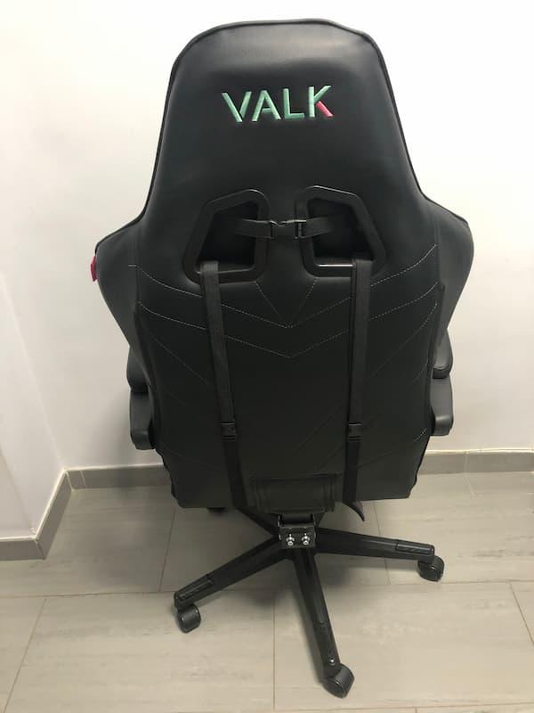 Parte trasera de la silla de escritorio gaming VALK Eyra